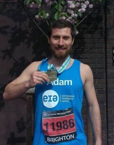Adam Lee after crossing the finish line