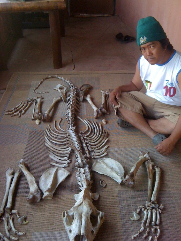 An alleged member of the Xaysavang syndicate poses with a set of lion bones, supplied by Julian Rademeyer