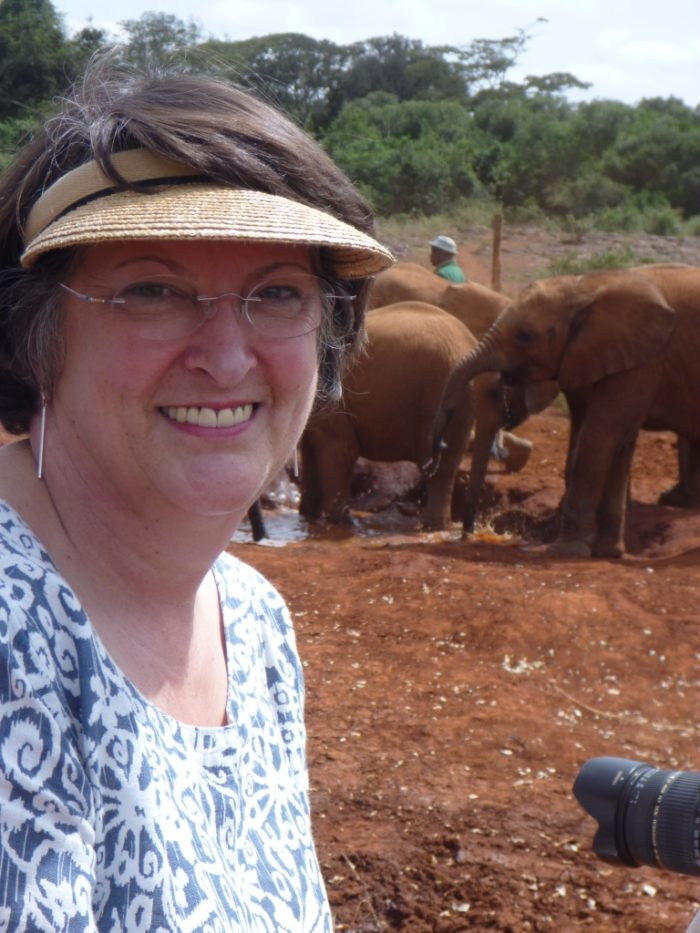 Catherine with elephants in Africa (c) Catherine Bearder