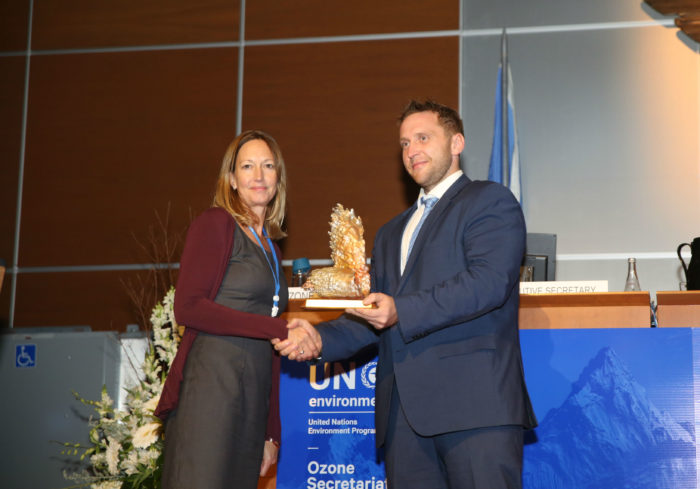 Clare Perry receives 2017 Ozone Award from Meelis Münt (c) Francis Dejon IISD ENB