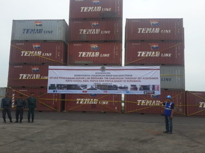 DG Law Enforcement MoEF Seizure Container Merbau from Papua n West Papua in Tanjung Perak Port Jan 2019 (3)