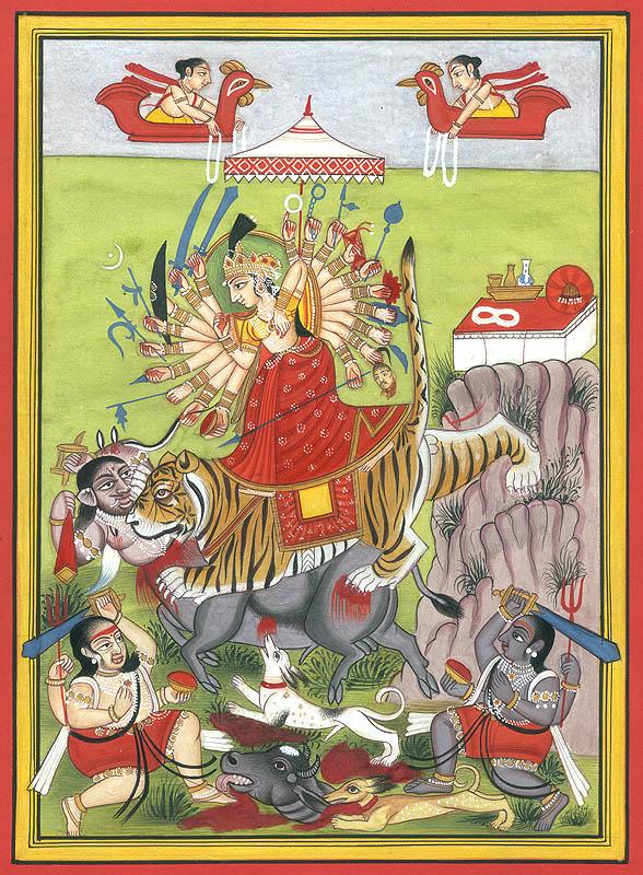 Durga slays Mahishasura (c) Dswaroop100