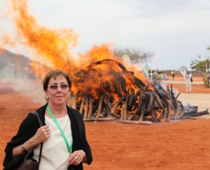 EIA Executive Director Mary Rice at Kenya ivory burning, 2011 (c) EIA