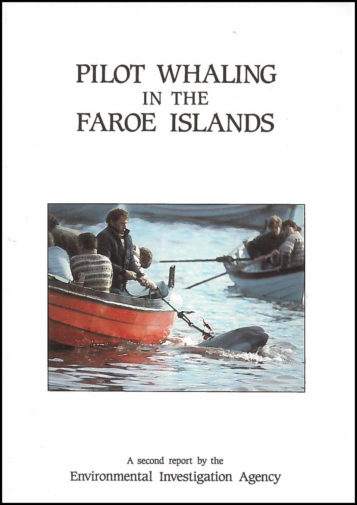 Front cover of our report on Pilot Whaling in the Faroe Islands (1986)