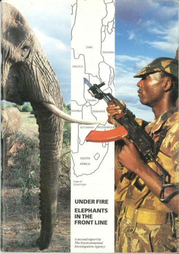 Front cover of our report entitled Under Fire: Elephants in the Front Line