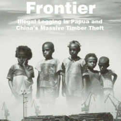 Front cover of our report entitled The Last Frontier: Illegal Logging in Papua and China's Massive Timber Theft
