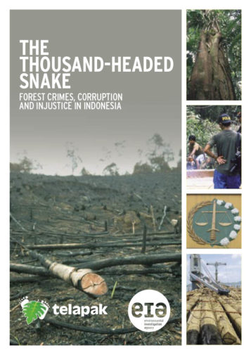 Front cover of our report entitled The Thousand-Headed Snake: Forest Crimes, Corruption and Injustice in Indonesia