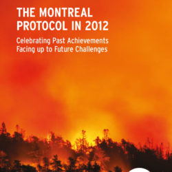 Front cover of our report entitled The Montreal Protocol in 2012: Celebrating Past Achievements Facing up to Future Challenges
