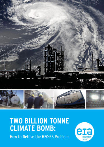 Front cover of our report entitled Two Billion Tonne Climate Bomb: How to Defuse the HFC-23 Problem