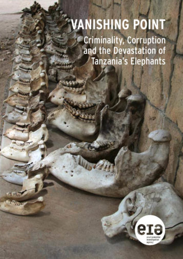 Front cover of our report entitled Vanishing Point: Criminality, Corruption and the Devastation of Tanzania's Elephants