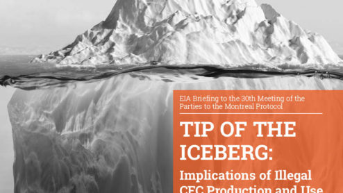 Front cover of our report entitled Tip of the Iceberg: Implications of Illegal CFC Production and Use