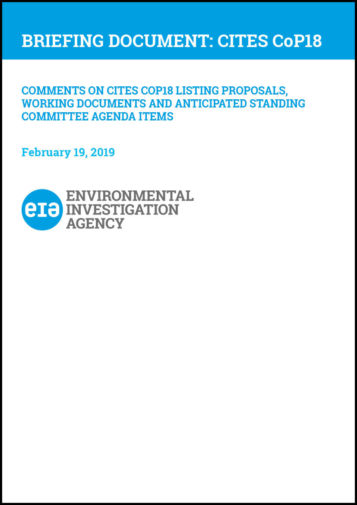 Front cover of our Briefing Document for CITES CoP18