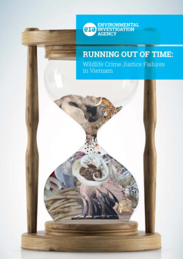 Front cover of our report entitled Running out of Time: Wildlife Crime Justice Failures in Vietnam