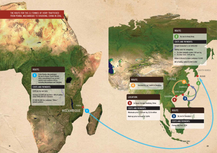 Route for ivory trafficked from Mozambique to China