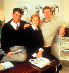 EIA founding directors Allan Thornton, Jennife Lonsdale and Dave Currey in the mid-80s (c) EIA