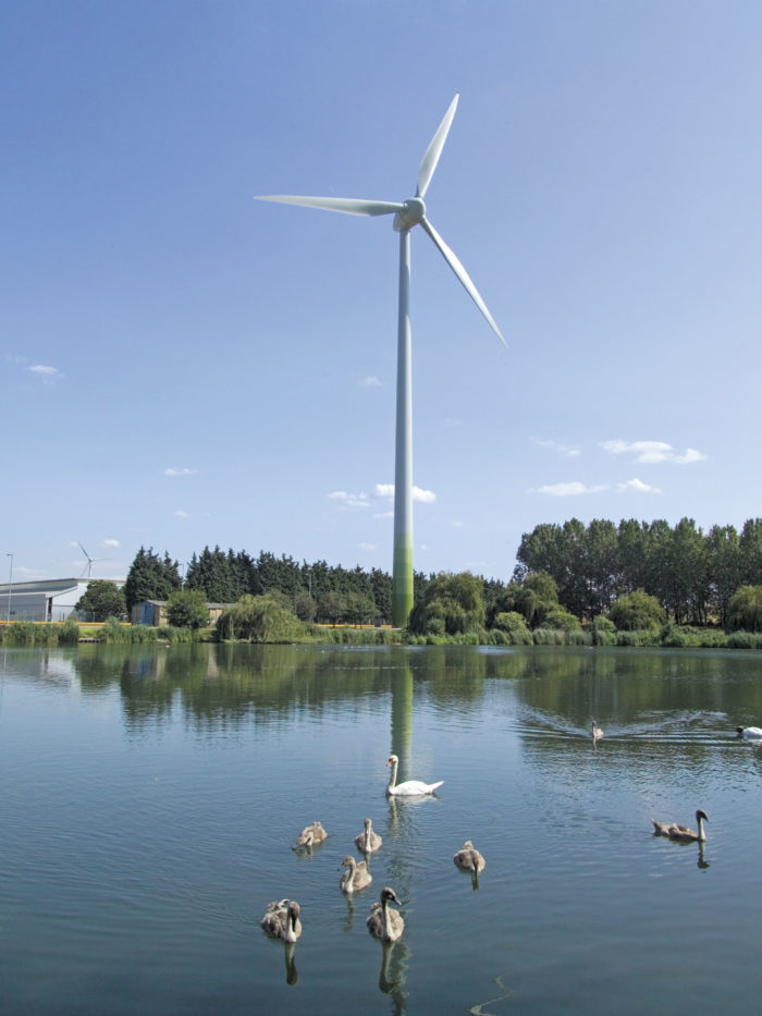 Ecotricity wind turbine at the Ford plant, Dagenham, London