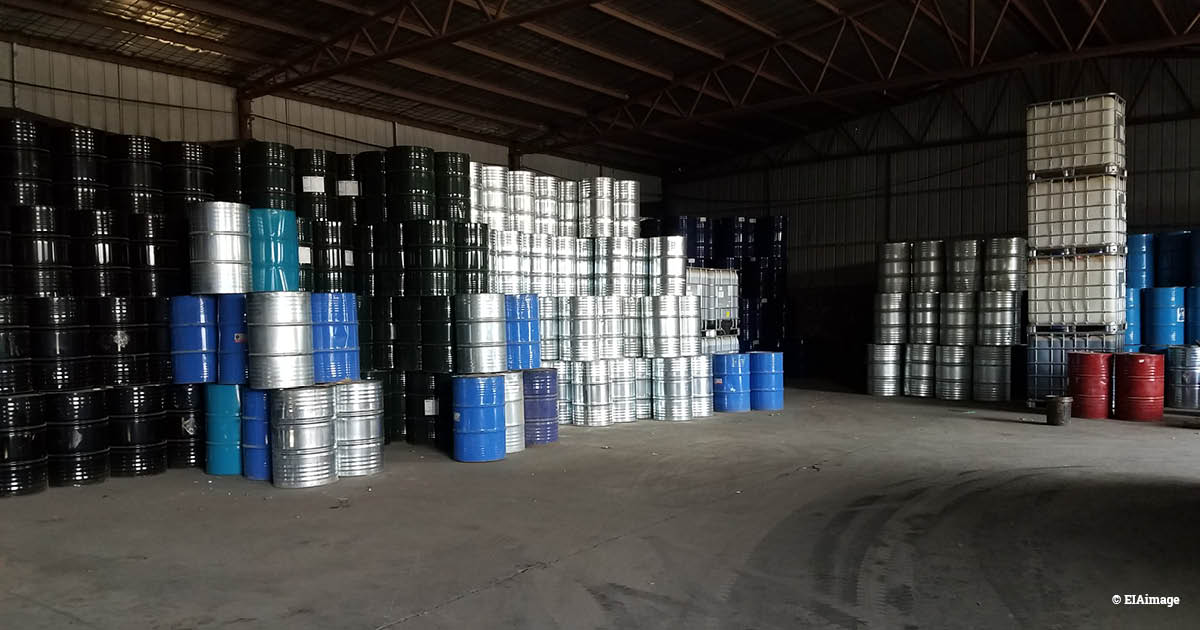 Warehouse with barrels containing raw materials for producing foam blowing agents in China