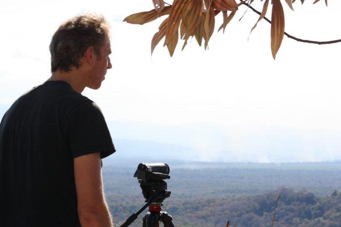 EIA investigator surveys land burning in Attapeu, Laos (c) EIA