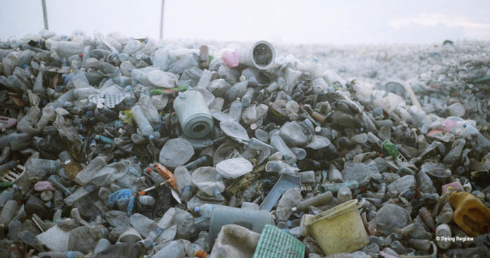 A large pile of plastic waste