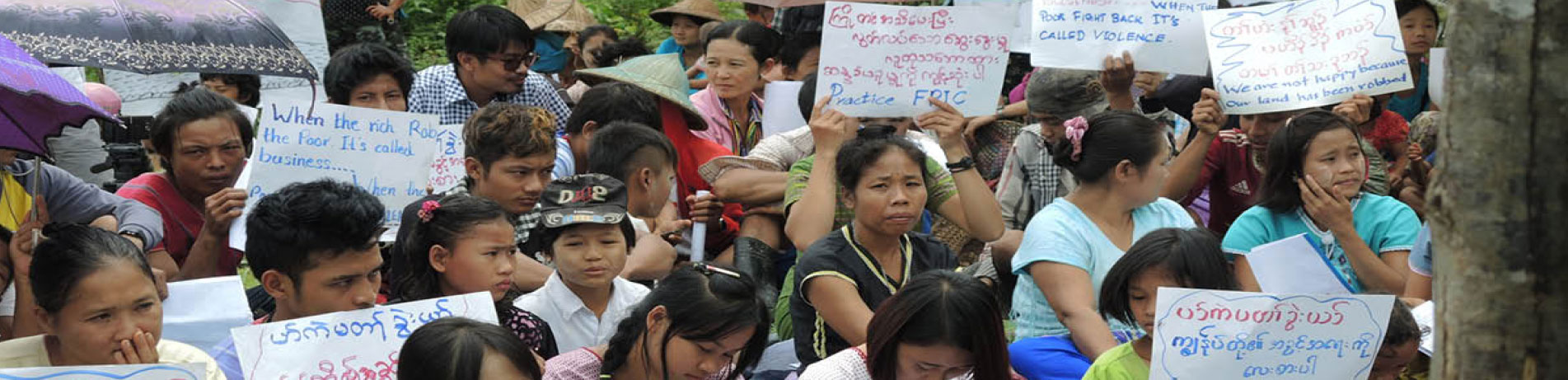 Villagers in the Karen community, Myanmar, stage a peaceful protest