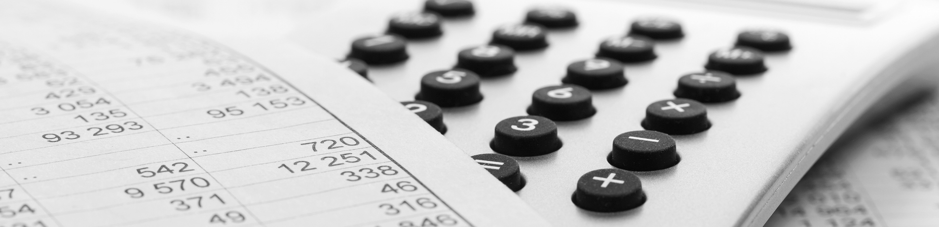 Image of a financial report and calculator