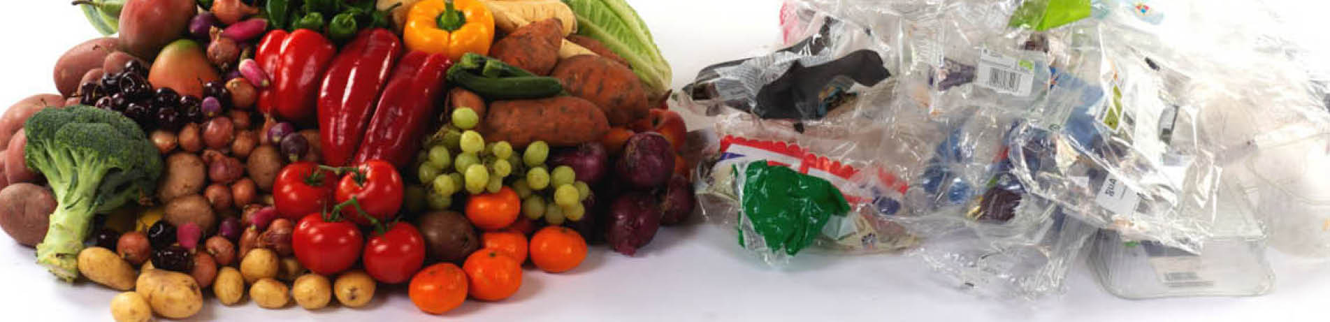 Fruit and vegetables from a supermarket with associated plastic waste