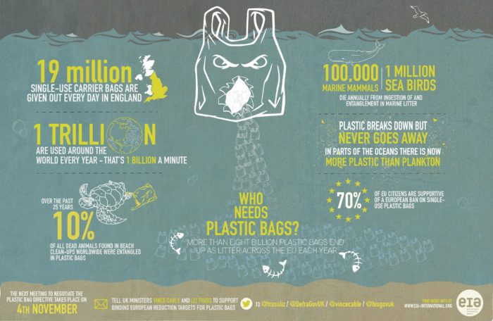 How has plastic bags impacted on the environment vs paper bags?