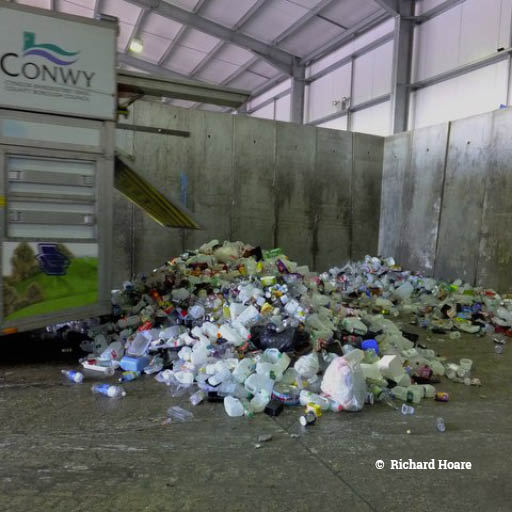 Plastic waste in a UK warehouse