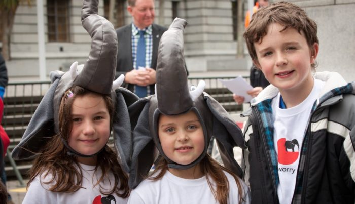 School children at Parliament Buildings during the International March for Elephants in 2013, Wellington, New Zealand (c) Shane Bayley