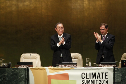 Secretary-General Ban (left) during the closing of the Climate Summit 2014, with Robert Orr, Assistant Secretary-General for Strategic Planning (c) UN Photo