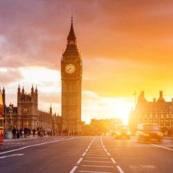 UK parliament at sunset