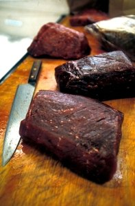 Whale meat on sale in Japan (c) EIA