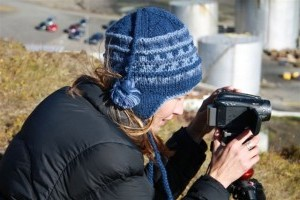 Clare perry, head of Oceans Campaign, documenting Icelandic whaling (c) EIA