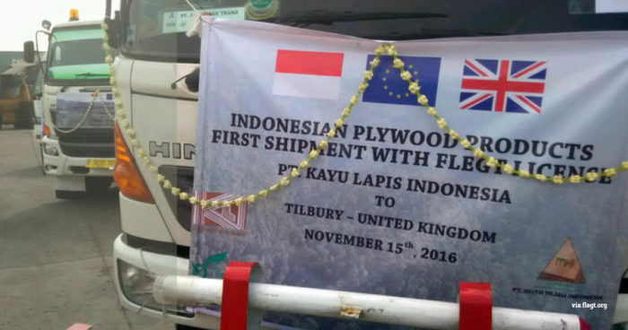 The first official shipment of legal FLEGT-licensed timber from Indonesia arrives in the UK in November 2016