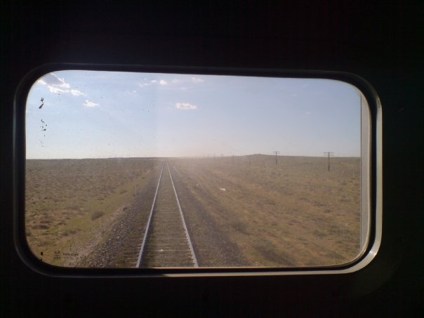 The gobi desert from the Trans-Siberian railway that connects Moscow with Beijing.