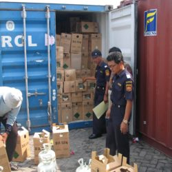 Customs officers inspecting a container full of boxes with gas canisters