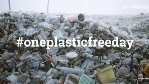 A pile of plastic waste with the hashtag 'oneplasticfreeday'