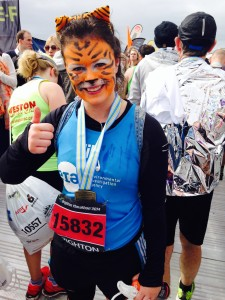 Jill Thomson in her tiger outfit