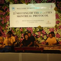 Picture of people playing traditional instruments during the reception of the annual meeting of the Parties in Thailand
