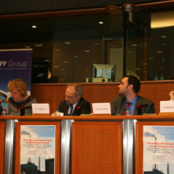 Environmental Investigation Agency' staff in an European Parliament table