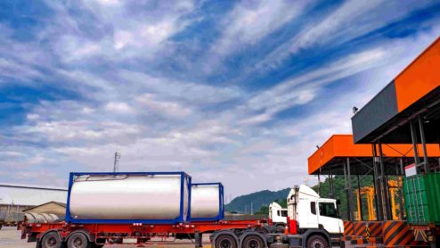 Truck transporting industrial gases