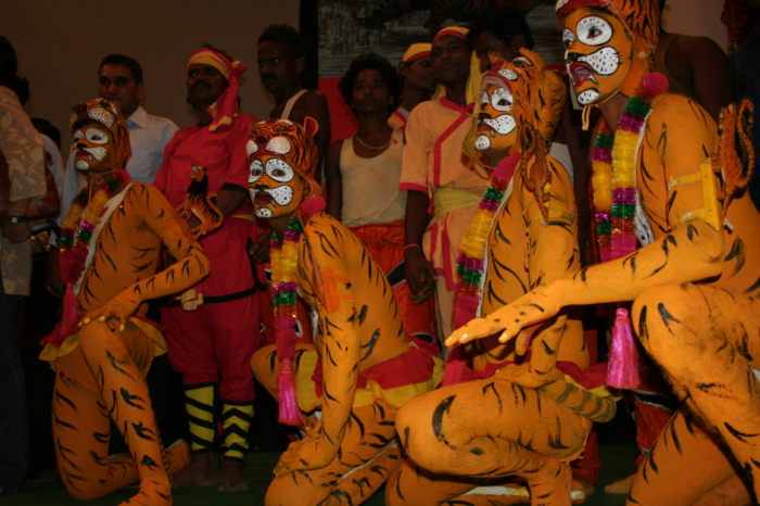 """""""Bagh Nritya"""" the tiger dance of Odisha. Young performers body painted as tigers, dance to honour Goddess Durga."""